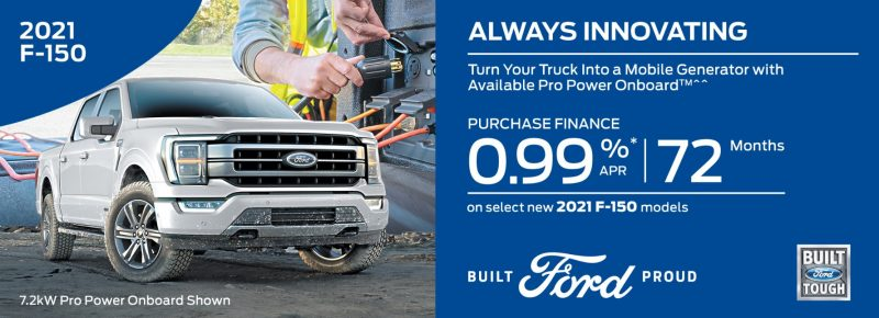 GET UP TO 0.99% A .P.R Financing ON SELECT NEW 2021 FORD MODELS